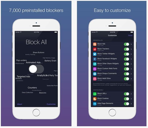 Tăng tốc độ lướt web trên iPhone 7 với 1Blocker