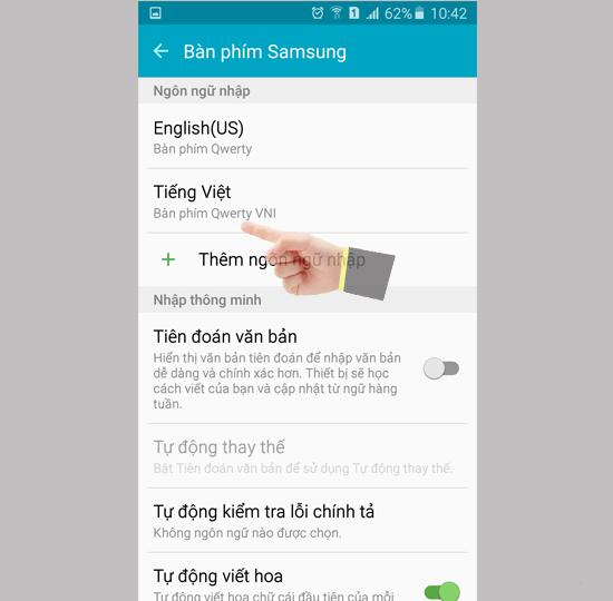 """Chọn phần """"Tiếng việt"""" để cài ngôn ngữ trên Samsung"""