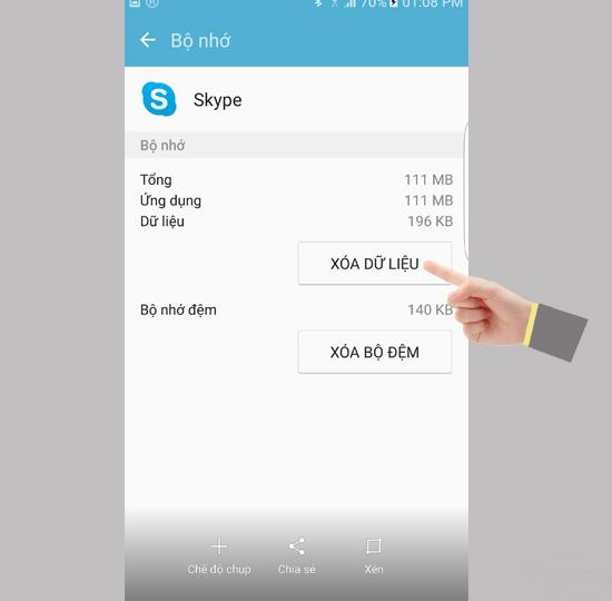 Xóa dữ liệu ứng dụng trên điện thoại samsung