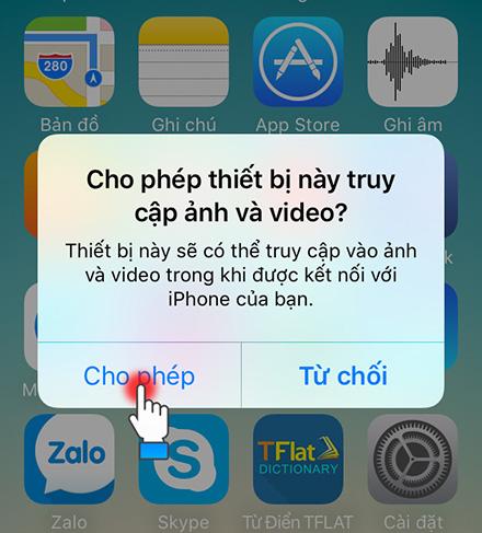 """Chọn """"Cho phép"""" để kết nối iPhone với máy tính"""