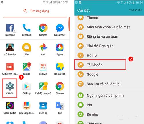 Sao lưu danh bạ Samsung lên Gmail