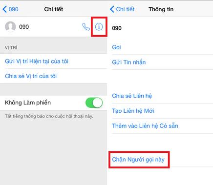 cách chặn số điện thoại trên iPhone