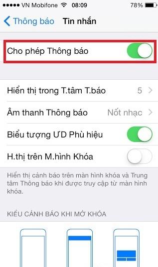 iPhone khong hien thong bao tin nhan