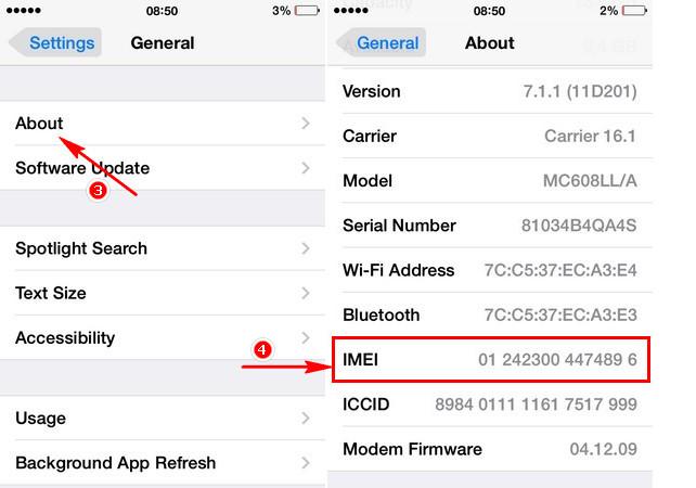xem số IMEI trên iPhone 7