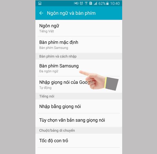 Chọn ngôn ngữ Samsung để cài đặt nhắn tin có dấu