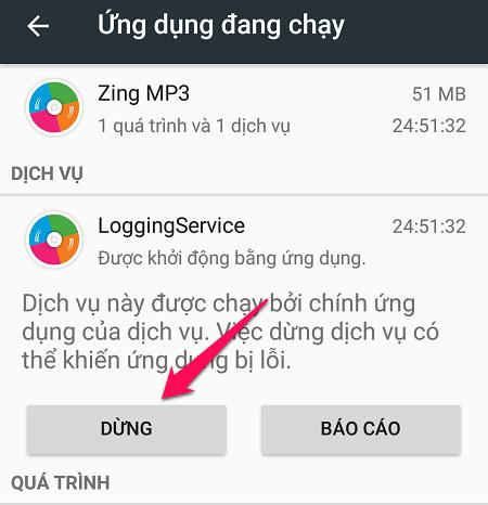 Dừng các ứng dụng chạy ngầm trên Android