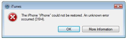 lỗi 3194 khi restore iphone