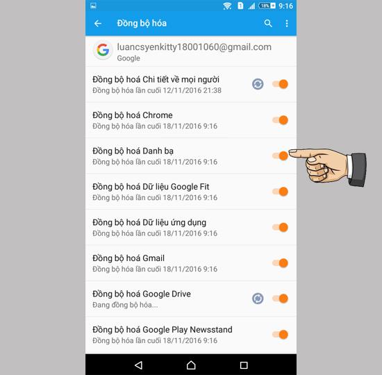 Đồng bộ dữ liệu trên Samsung với Gmail
