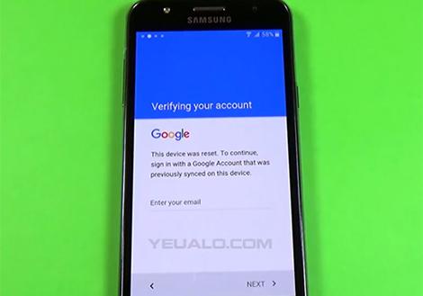 Samsung J7 Prime bi khoa tai khoan Google